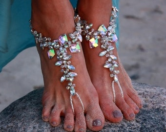 Barefoot Sandals Beach Wedding Crystal Ankle Bracelet Boho