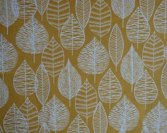 Line Leaf Fabric - Gold - Bark and Branch Collection - Cloud9 Organics - Eloise Renouf - Organic Cotton Canvas Fabric - HALF YD