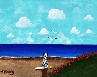 Dalmatian Dog Folk art print by Todd Young AT THE BEACH
