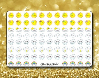 Kawaii Weather Stickers - Planner Stickers Erin Condren Life Planner Cute Stickers Sunny Cloudy Rainbow Stickers ECLP Stickers Happy Planner