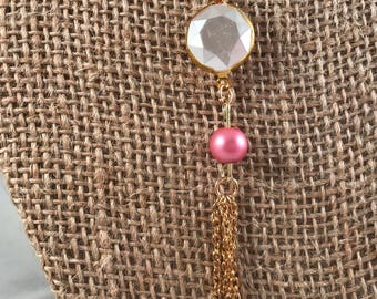 Pink Tassel Charm Necklace, Gold Tassel Charm Necklace, Tassel Necklace