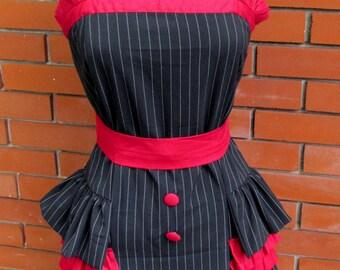 Vintage ~ NWT Too Fast ~ Rockabilly retro PINUP pin stripe Wiggle Ruffle Dress~ sz M