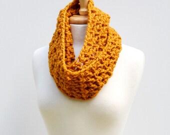 Orange Infinity Scarf Crochet Loop Neckwarmer Butterscotch Cowl Scarf
