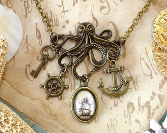 Octopus Necklace - Anchor Necklace - Pirate Jewelry - Statement Necklace - The Kraken in Bronze