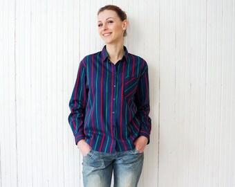 Retro blue striped shirt Royal blue button up striped blouse Office secretary shirt size M