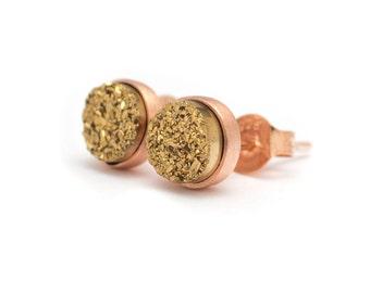 Gold in Rose Gold Stud Earrings - Druzy / Drusy Quartz Studs - 24k Rose Gold Vermeil Stud Earrings - Round 6mm - Bezel Set