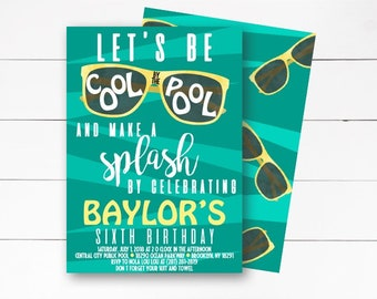 Let's Be Cool By the Pool Birthday Invitation, Pool Party Invitation, Summer Birthday Invitation, Boy Birthday Invitation, Pool, DIY/Printed