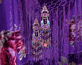 """Peacock Purple & Teal Exotic Crystal Earrings, East Indian Bollywood, 5"""" Long, Heart Charm Gypsy Jewelry, Swarovski, Kerala Rose, Sparkly!"""