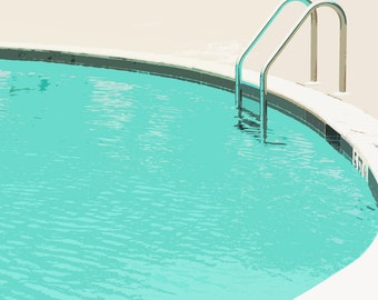 Swimming Pool Summer Water Blue  Ladder - 5 x 7 art print by Dawn Smith