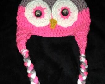 Child's Owl Beanie with Braids