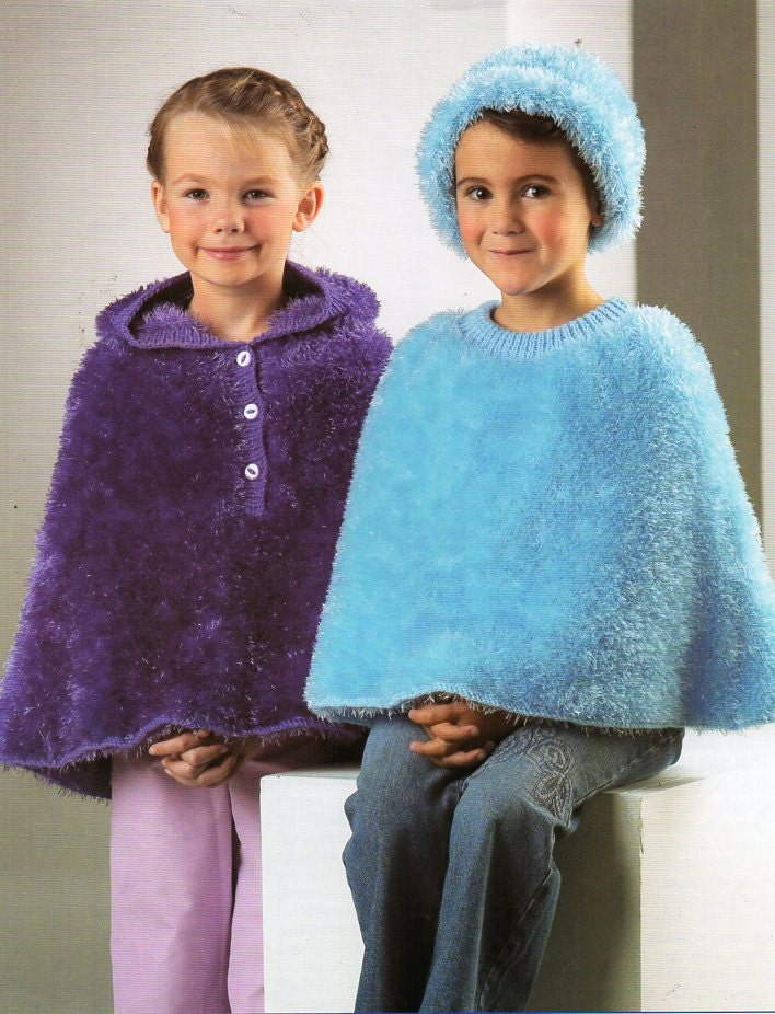 vintage girls furry ponchos knitting pattern PDF DK Eyelash yarn ...