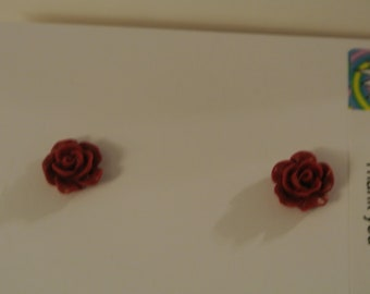 Small Black or Red Rose Post Earring