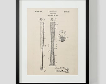 1938 Baseball Bat Sheet 2 Patent Print