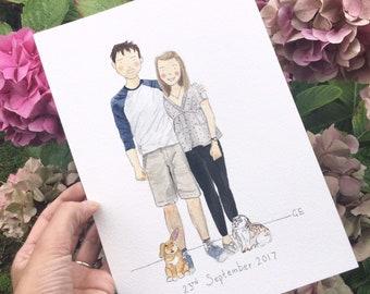 Custom portrait, Personalised Watercolour Portrait, custom portrait, custom family illustration, personal watercolor portrait