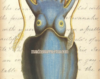 Coastal Decor Bright Blue Squid Print