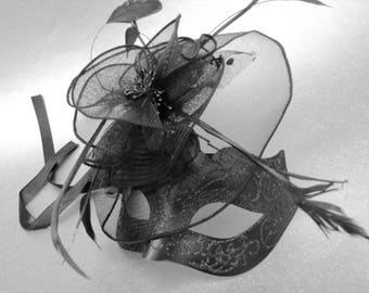Black Fascinator masquerade mask with black veil feather