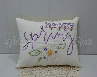 Easter Home Decor - Happy Spring Pillow - Spring Home Decor - Spring Flowers Throw Pillow