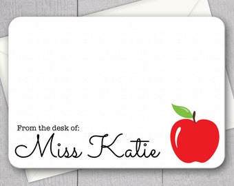 Teacher Note Cards - 12pk, Personalized Flat Note Cards, Teacher Gifts under 15, Printed with Envelopes (NC-005)