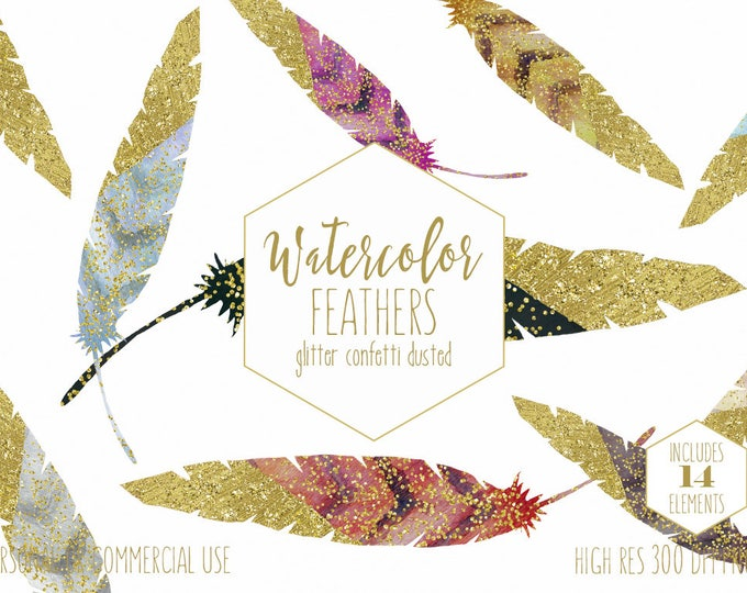 GOLD CONFETTI FEATHER Clipart for Commercial Use Clip Art Watercolor Boho Chic Digital Graphics with Gold Metallic Tribal Bohemian Clipart