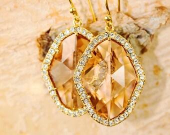 Peach Glass Big Rhombus Earrings with Diamonds Crystal drop earrings Bridesmaid earrings gold earrings dangle earrings blush earrings