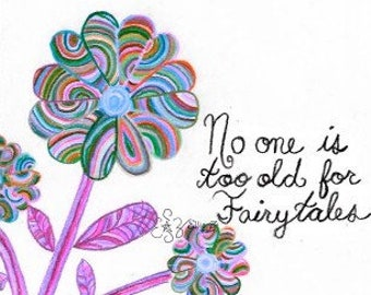 "Hand drawn ""Fairytales"" Pink Flower printable"