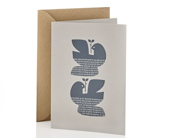 Hand Screen Printed Two Turtle Doves Christmas and Holiday Card