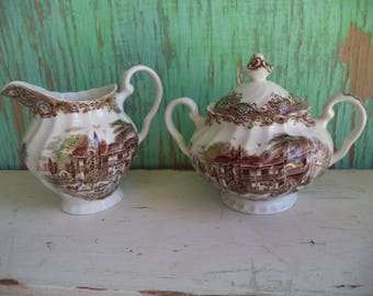 Vintage Heritage Hall Sugar and Creamer Set By Johnson Brothers