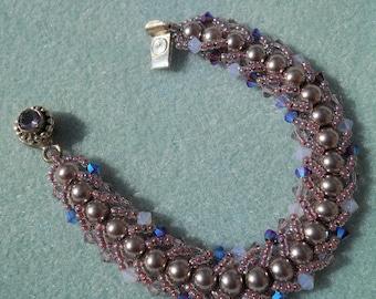 Lavender Luster - Pearl and Crystal Flat Spiral Beaded Bracelet