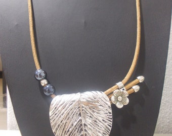 Handmade necklace silver leaf single flower,portuguese natural cork