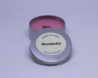 Handmade designer inspired fragrance candle. Wood wick, tin.