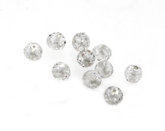 2.3mm Natural Diamond Beads SI2/GH Microfaceted Rounds Approx 0.11ct EACH, Diamond beads