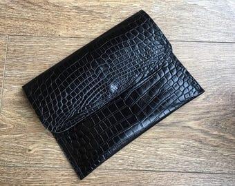 Black Croc Embossed Leather Clutch Bag.