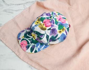 Floral 80s cap | Multicolored cap | Vintage floral cap | 90s tennis cap | Women's patterned cap | 80s retro sport hat | Flower printed hat