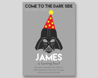 Darth Vader Star Wars Birthday Invitation - Custom DIY Printable