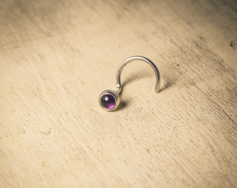 Small Silver and Amethyst Nose Stud (3mm Cabochon)