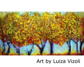 Yellow Fall 40x Abstract Trees Landscape Impasto Oil Large Painting Art by Luiza Vizoli Ready to Ship