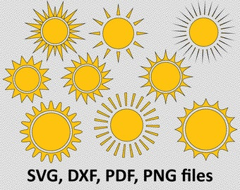 Sun svg - sun clipart - sun face clip art Cutting Template SVG DXF pdf png Silhouette DIY Cricut Vector digital Download sun bundle