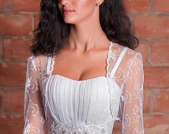 Bridal bolero white lace wedding bolero white shrug bridal lace top 3/4 sleeve bolero bridal shrug lace bolero jacket shrug for bridel