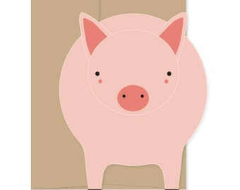 8 Blank Pig Cards, Pig Greeting Cards, Pig Thank You, Pig Stationery, Pig Novelty Cards, Boxed Set Cards, Blank Animal Stationery