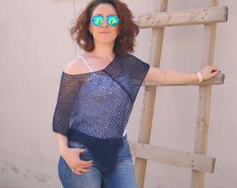 Blue poncho,Womens poncho,Hand Knit poncho,Navy blue poncho,Beach cover up,Loose Knit poncho,Birthday gift,Cotton Poncho,Summer poncho