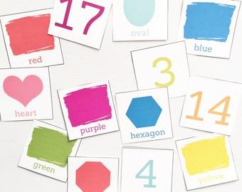 Preschool Shape/Colors/Numbers Card Printables