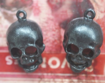 TWO Creepy Skull Charms Pewter Casting, Black Satin Finish, Gothic Skulls Made in the USA