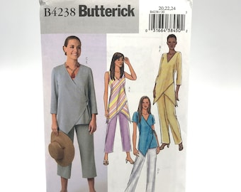 Butterick 4238 Womens Plus Size Loose Wrap Front Top with Asymmetrical Hem and Pants Size 20 24 Uncut Sewing Pattern