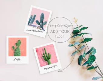Cactus Printable Polaroid Prints, Desert Decor, Cactus Mini Poster, Dorm Wall Art, Printable Polaroids, Poastel Cactus Art Instant Download