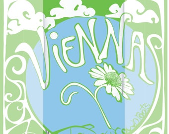 Reusable 22 oz. glass bottle with Vienna, VA GYOR design