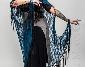 """NEW Specialty: The """"Queen of the Night"""" Hooded Lace Cape with Black Long Fringe Trim by Opal Moon Designs (One Size)"""