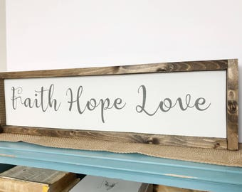Faith Hope Love Sign, Inspirational Sign, Bible Verse Sign, 1 Corinthians, Anniversary Gift, Wedding Gift, Wedding Sign, Valentines Day Gift
