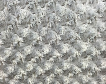 "Silver RoseBud Minky fabric per yard blanket throw lining 58"" wide"