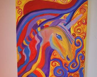 Psychedelic Unicorn , acrylic original painting