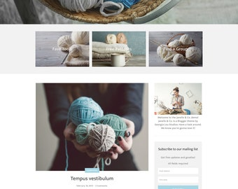 "Blogger Theme - Responsive Blogger Template - Customizable Blog Design - Customizable - ""Janelle & Co."" - premade blog theme - hero header"